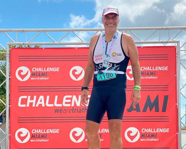 Foto del nostro sportivo durante l'ultimo triathlon Venus